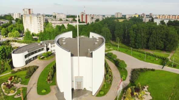 Modern Unique Architecture White Church In Siauliai