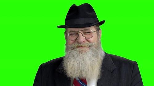 Old Bearded Man in Traditional Felt Hat