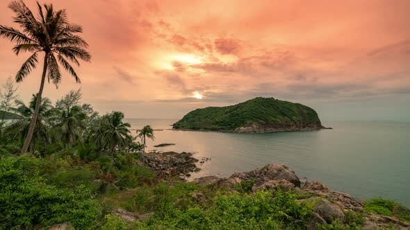Thumbnail for Beautiful tropical island Ko Ma at sunset in Koh Phangan island, Thailand