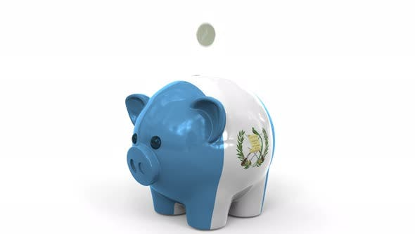 Thumbnail for Coins Fall Into Piggy Bank Painted with Flag of Guatemala