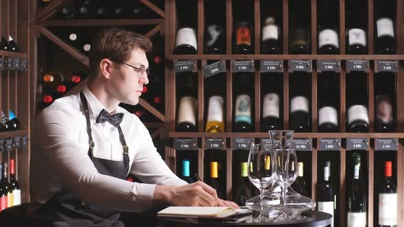 Thumbnail for Portrait of Confident Male Sommelier Tasting Red Wine