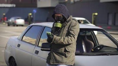Man In Respirator Gas Mask
