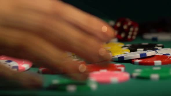 Thumbnail for Female Hands Collecting Huge Pile of Chips Off Poker Table. Leader Winning Prize