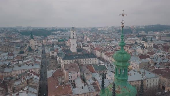 Thumbnail for Luftstadt Lviv, Ukraine. Europäische Stadt. Beliebte Gegenden der Stadt. Ratush