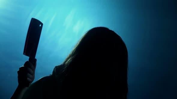 Nightmare, Wicked Woman Showing Sharp Bloody Chopping-Knife, Cruel Maniac