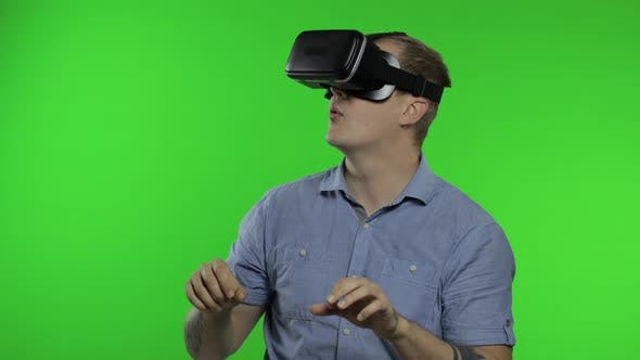 Thumbnail for Man Using VR Headset Helmet To Play Game. Watching Virtual Reality 3d 360 Video. Chroma Key