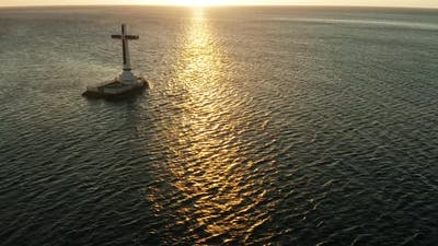 Sunken Cemetery Cross in Camiguin Island Philippines