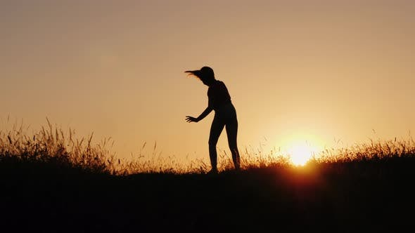 Thumbnail for Silhouette of a Little Girl Making Acrobatic Wheel in a Sunset Setting
