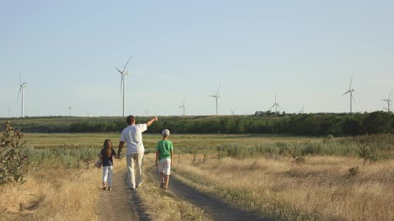Thumbnail for Father Showing Windmills To Children