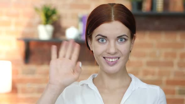 Thumbnail for Hi, Hello, Woman Waving Hand, Welcome, Indoor