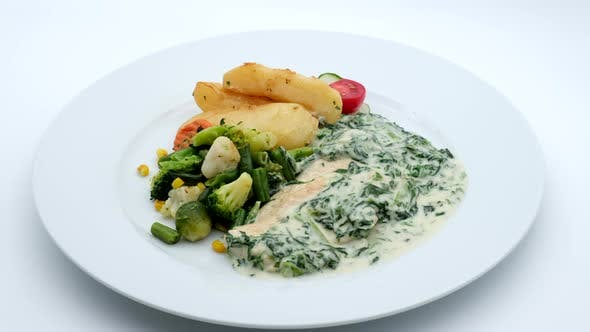 Thumbnail for Delicious Restaurant Food Chicken With Vegetables and Potatoes