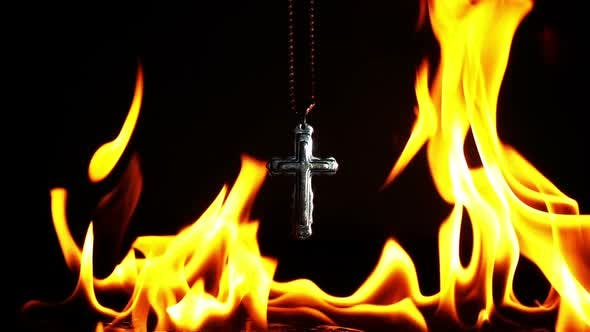 Thumbnail for Christianity Religion Symbol Cross And Fire Burning 3