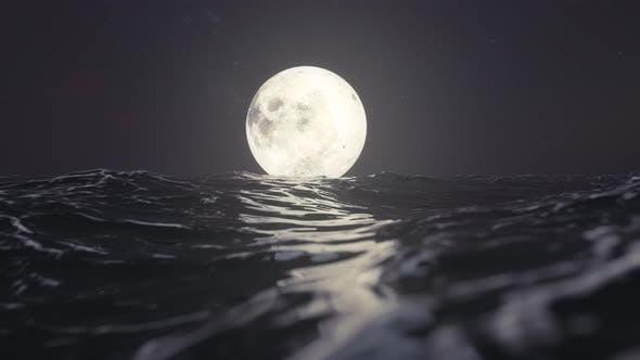 Dark Sea And Moon
