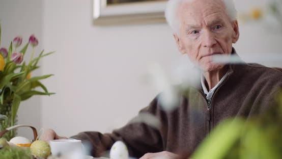 Thumbnail for Senior Man, Retirement. Lonley Senior Man Siting Alone at Table