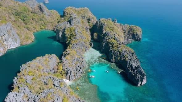 Thumbnail for Aerial View of Small and Big Lagoon on Miniloc Island. El-Nido, Palawan. Philippines. Limestone Rock