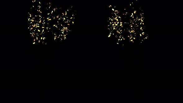 Two Golden Trendy Confetti Shooting upward