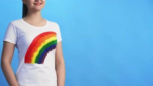 Lgbt Pride Gay Solidarity Happy Woman with Rainbow