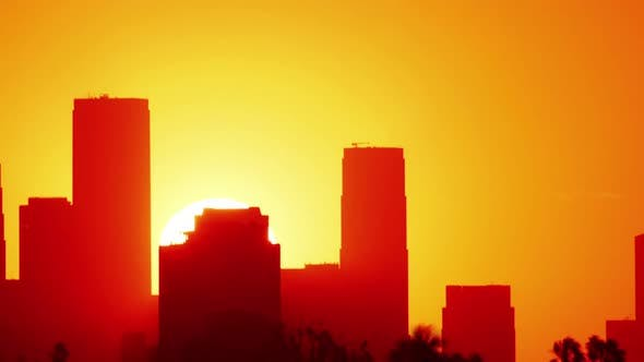 Thumbnail for Sunrise Behind Los Angeles Time Lapse