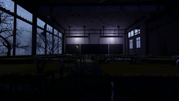 Abandoned School Classroom at Night