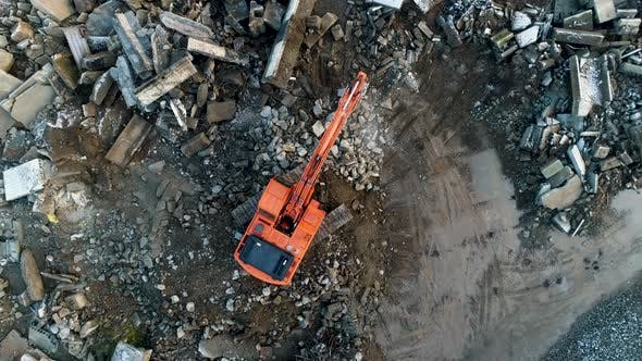 Thumbnail for Industrial Recycling of Concrete, Hydraulic Excavator Doosan 255 LCV with Jaw Crusher at Work