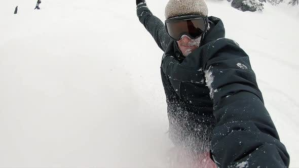 Thumbnail for Extreme Slow Motion Snowboard Carving Powder Selfie