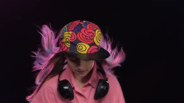 Thumbnail for Stylish Teenager Girl Plays Music and Dances at Dj Table
