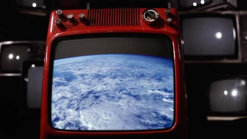Video of the Earth from the ISS as it approaches the Terminator on an Old Television.