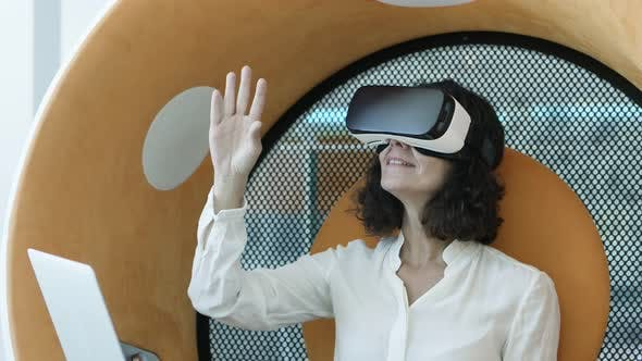 Thumbnail for Cheerful Businesswoman in Vr Headset