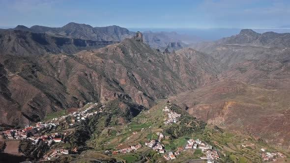 Thumbnail for Aerial of Bentayga Rock and Tejeda Village, Gran Canaria