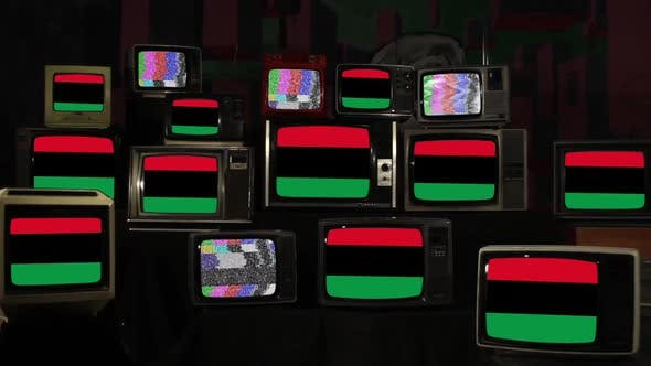 Pan-African flags on Retro Television Stack.