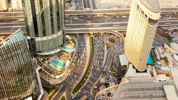 Dubai Panorama of Big Highway Intersection with Heavy Traffic Time-lapse