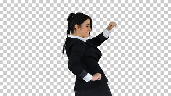 Adorable confident young business woman dancing, Alpha Channel