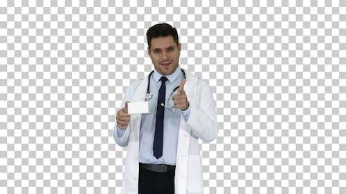 Doctor talking to camera presenting new medicine, Alpha Channel
