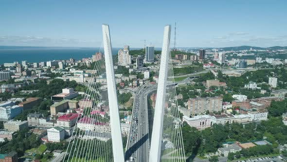 Aerial Drone View of The Zolotoy Golden Bridge. Cable-stayed Bridge Across the Zolotoy Rog (Golden