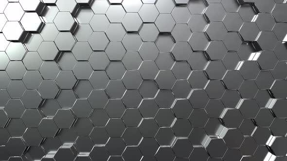 Silver hexagon honeycomb movement background