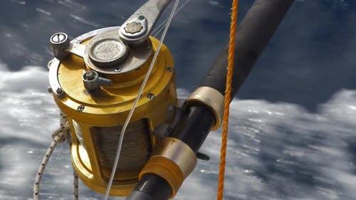 Fishing tackle on sailing motor boat