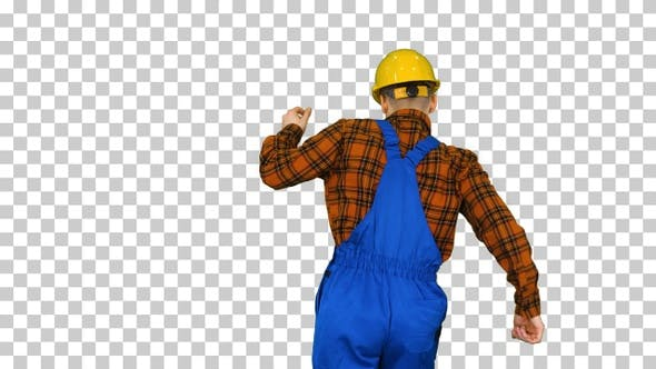 Thumbnail for Construction Worker in Helmet Dancing, Alpha Channel