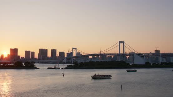 Thumbnail for Odaiba city landscape in the sunset time