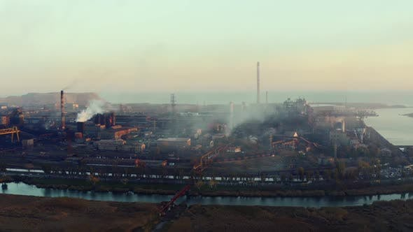 Thumbnail for Metallurgical plant. Evening time. Environmental pollution