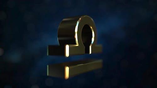 Rotating Gold Libra Zodiac Sign
