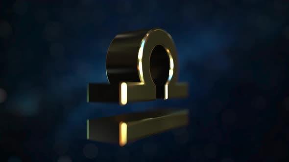 Thumbnail for Rotating Gold Libra Zodiac Sign