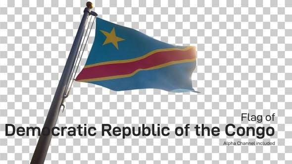 Democratic Republic of the Congo Flag on a Flagpole with Alpha-Channel