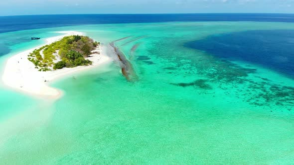 Thumbnail for Aerial: Flying over idyllic atoll, exotic travel destination in Wakatobi National Park, Indonesia