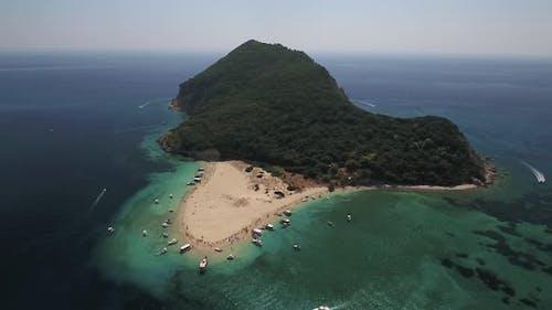 Marathonisi Island (Turtle Island) from drone - Zakynthos, Greece
