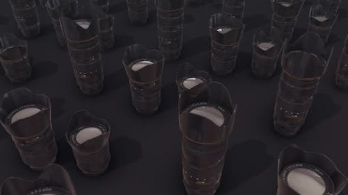 a lot of camera lenses in a row Hd