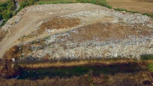 Aerial view to dumpster, junkyard from above in a countryside of Serbia