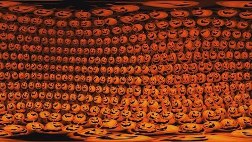 8K 360 degrees equirectangular panorama of pumpkins