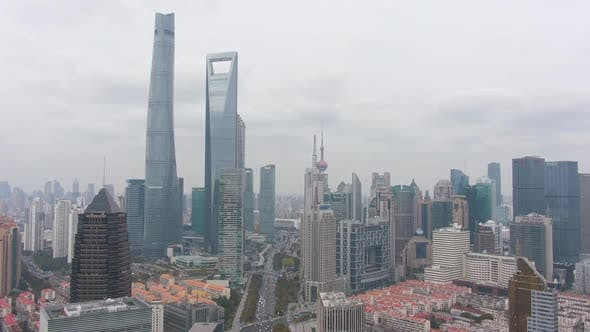 Thumbnail for Shanghai Skyline in Cloudy Day. Lujiazui District