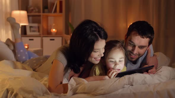 Thumbnail for Happy Family with Tablet Pc in Bed at Home 15