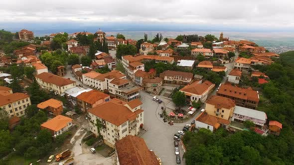 Thumbnail for Wondrous Aerial View of Main Sighnaghi Square Overlooking Famous Alazani Valley